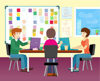 Group of People Working in Office. Group of people working with laptops on desk in office. Business meeting, team collaboration, modern business, teamwork vector illustration