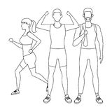 Group of people working out. Avatars weight vector illustration