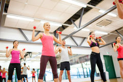 Group of people working out with dumbbells. Fitness, sport, training, gym and lifestyle concept - group of smiling people working out with dumbbells in the gym Stock Images