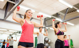 Group of people working out with dumbbells. Fitness, sport, training, gym and lifestyle concept - group of smiling people working out with dumbbells in the gym Stock Image