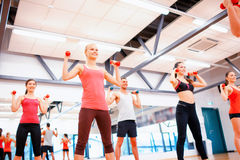 Group of people working out with dumbbells. Fitness, sport, training, gym and lifestyle concept - group of smiling people working out with dumbbells in the gym Royalty Free Stock Images