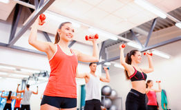 Group of people working out with dumbbells. Fitness, sport, training, gym and lifestyle concept - group of smiling people working out with dumbbells in the gym Royalty Free Stock Image