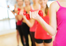 Group of people working out with dumbbells in gym Royalty Free Stock Image