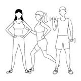 Group of people working out. Avatars weight stock illustration