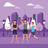 Group of people working out. Avatars weight in the park and cityscape purple vector illustration graphic design vector illustration