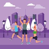 Group of people working out. Avatars weight in the park and cityscape purple vector illustration graphic design stock illustration
