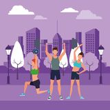 Group of people working out. Avatars weight in the park and cityscape purple vector illustration graphic design royalty free illustration