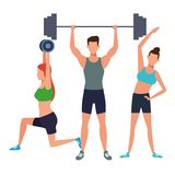 Group of people working out. Avatars weight vector illustration graphic design royalty free illustration