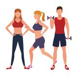 Group of people working out. Avatars weight vector illustration graphic design stock illustration