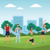 Group of people working out. With gym machine in the park vector illustration graphic design vector illustration