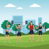 Group of people working out. With gym machine in the park vector illustration graphic design royalty free illustration