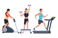 Group of people working out in the gym. With machines vector illustration graphic design vector illustration