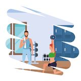 Group of people working out in the gym. Pop art vector illustration graphic design vector illustration