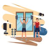 Group of people working out in the gym. Pop art vector illustration graphic design stock illustration