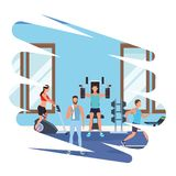 Group of people working out in the gym. Pop art vector illustration graphic design royalty free illustration