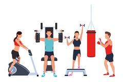 Group of people working out in the gym. With machines vector illustration graphic design stock illustration