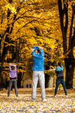Group of people working out in park Royalty Free Stock Photos