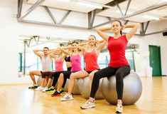 Group of people working out in pilates class Royalty Free Stock Image