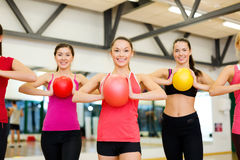 Group of people working out with stability balls Stock Photo