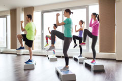 Group of people working out with steppers in gym Stock Photo