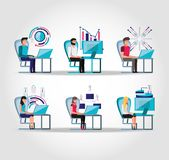 Group people working and set icons business. Vector illustration design stock illustration
