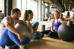 Group of people workout in healthy club. Royalty Free Stock Photos