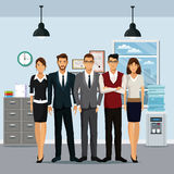 Group people workplace cabinet file cooler water clock lamp Royalty Free Stock Photography