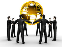 Group of people and world. On 3d images group of people and world Stock Images