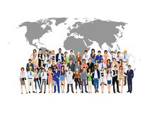 Group people world map Royalty Free Stock Image