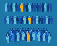 Group of people with a yellow candidate for elective office. Royalty Free Stock Images