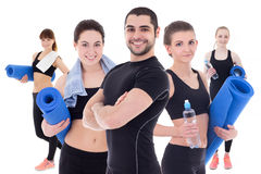 Group of people with yoga mats isolated on white Royalty Free Stock Photo