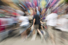 Group of People Zoom. Motion blurred zoom of crowd of people walking Stock Images