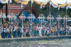 Group of peoples wait for throwing lotus on Rub Bua Festival. Royalty Free Stock Image