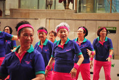 Group performance by elderly people on Christmas at Singapore Royalty Free Stock Photos