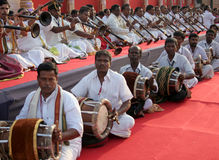 Group performance of indian traditional music stock photo