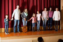 Group of performers came to bow to audience Royalty Free Stock Image