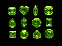 Group of peridot with clipping path. Group of peridot shape , clipping path included Royalty Free Stock Images