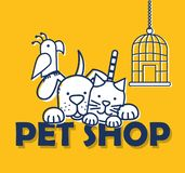Group of pets icons stock illustration