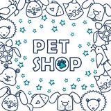 Group of pets pattern stock illustration