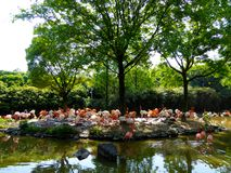 A group of pink flamingos at Shanghai wild animal park Stock Photos