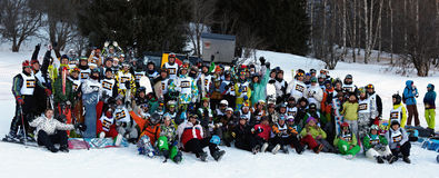 Group photo competitors at Ski and Boarder Cross Royalty Free Stock Photos