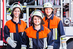 Group photo of fire fighters crew Stock Photos