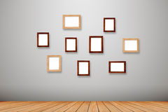 Group photo frames on the wall Stock Image