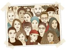 Group photo. Illustration of a photograph of a group of young people Stock Photos