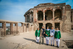 Group photo at Lahore fort Royalty Free Stock Image