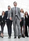 Group photo.a leader and a group of business people stock photo