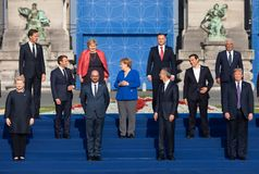Group photo of participants of the NATO military alliance summit. BRUSSELS, BELGIUM - Jul 11, 2018: Jens Stoltenberg, Donald Trump, Emmanuel Macron and Angela stock photo