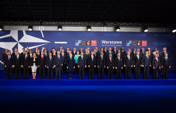 Group photo of participants of NATO summit in Warsaw Stock Image