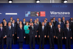 Group photo of participants of NATO summit in Warsaw Stock Photography