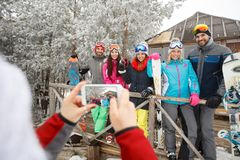 Group photo of skiers on winter holiday. Group photo of skiers together on winter holiday Stock Photography